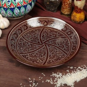 Farfurie din ceramica pictata manual Lyagan 42cm maro