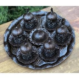 Кофейный набор с подносом на 6 персон, античная бронза