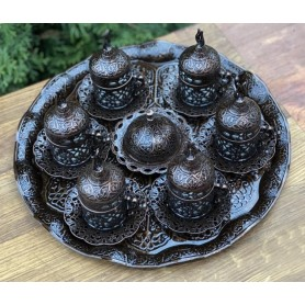 Set de cafea cu suport pentru 6 persoane, bronz antichizat