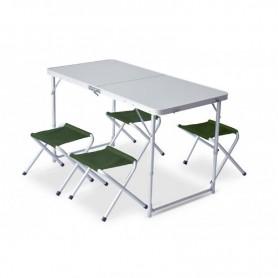 Set pliabil masa cu 4 scaune Pinguin, verde 621044