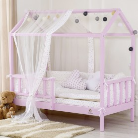 Pat casuta pentru copii BabyTime, roz
