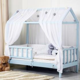 Pat casuta pentru copii BabyTime 160x80cm, albastru