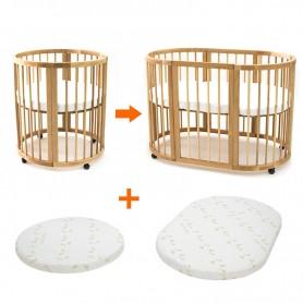 Кроватка - трансформер 9 в 1 BabyTime, цвет натуральный + 2 ортопедические матрасы