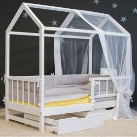 Детская кровать домик BabyTime Extra 160x80см, цвет белый