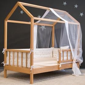 Детская кровать домик BabyTime 160x80см, цвет натуральный