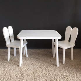 Set masuta si 2 scaunele BabyTime Iepuras, alb