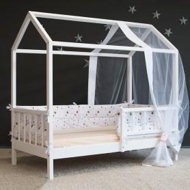 Детская кровать домик BabyTime 160x80см, цвет белый