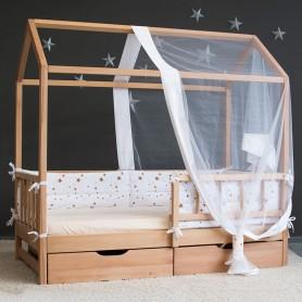 Pat casuta pentru copii BabyTime Extra 160x80cm, natural