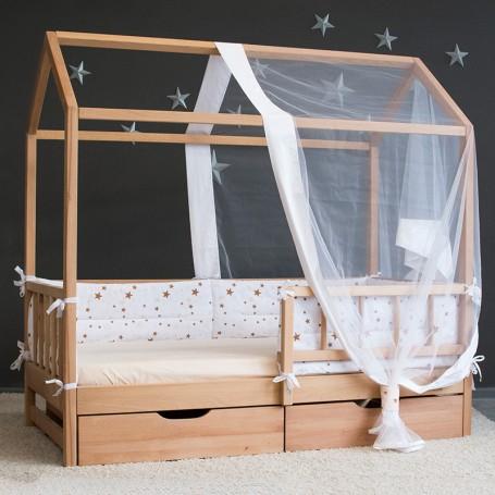 Детская кровать домик BabyTime Extra, цвет натуральный