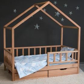 Детская кровать BabyTime Casuta Rustica Extra 170x90см, цвет натуральный