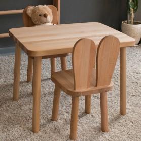Set masuta si 2 scaunele BabyTime Iepuras, natural
