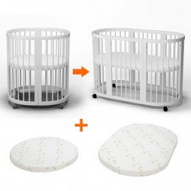 Кроватка - трансформер 9 в 1 BabyTime + 2 ортопедические матрасы, цвет белый