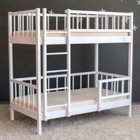 Pat supraetajat pentru copii BabyTime Twins 160x80cm, alb