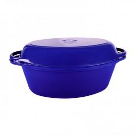 Кастрюля с крышкой-сковородой чугунная ЭМГ Syton, синяя, 3,5л